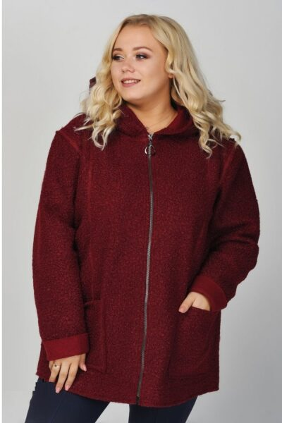 Облегченное пальто бордо  00-13375245 - Victorya-Shop.com