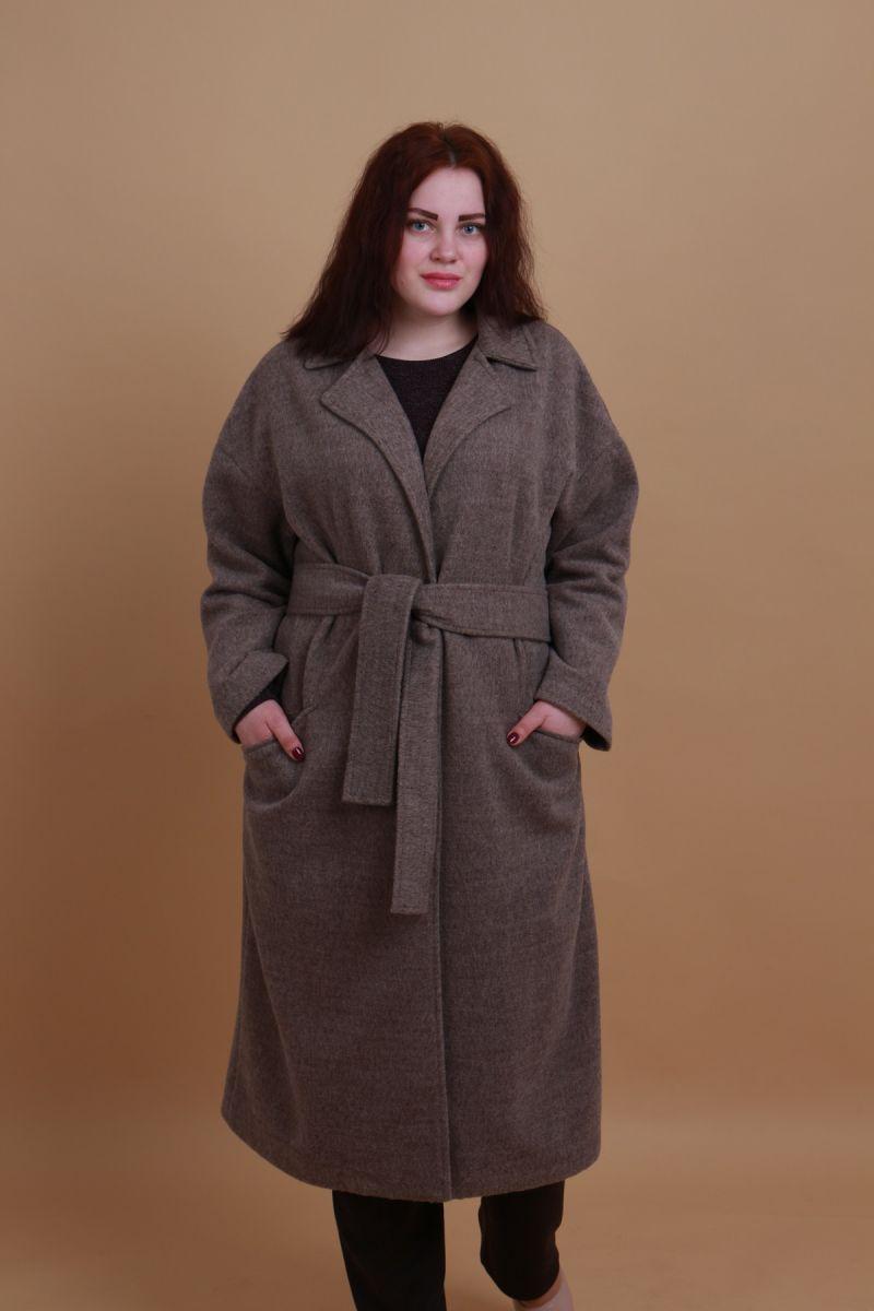 Пальто большого размера  Весна шерсть капучино 000-437 - Victorya-Shop.com