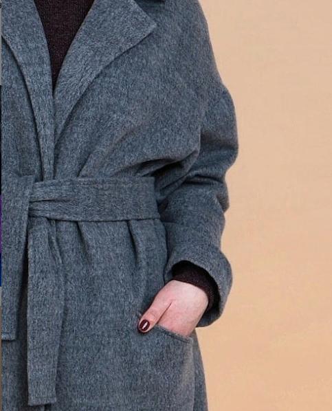 Пальто большого размера  Весна шерсть оливка 000-438 - Victorya-Shop.com