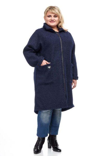 Пальто Букле синий  000-56 - Victorya-Shop.com