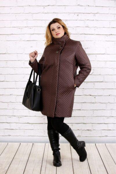 Пальто из плащевки коричневого цвета 00-133722 - Victorya-Shop.com