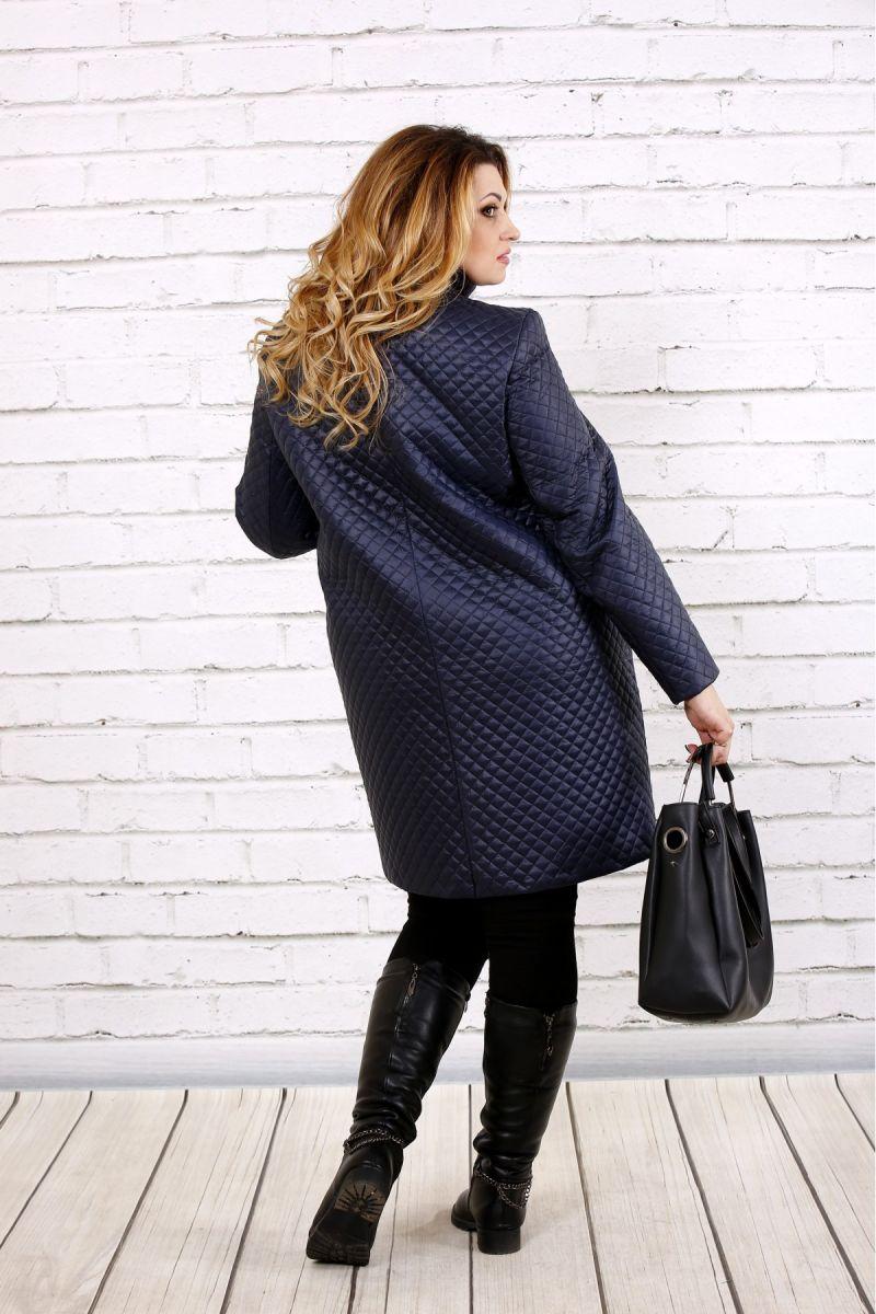 Пальто из плащевки синий  00-133723 - Victorya-Shop.com