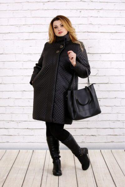 Пальто из плащевки черный  00-133724 - Victorya-Shop.com