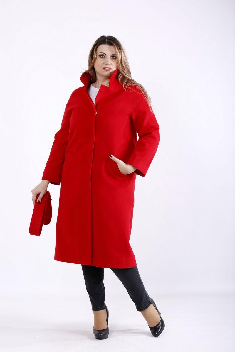 Пальто кашемтр красный 00-133654 - Victorya-Shop.com
