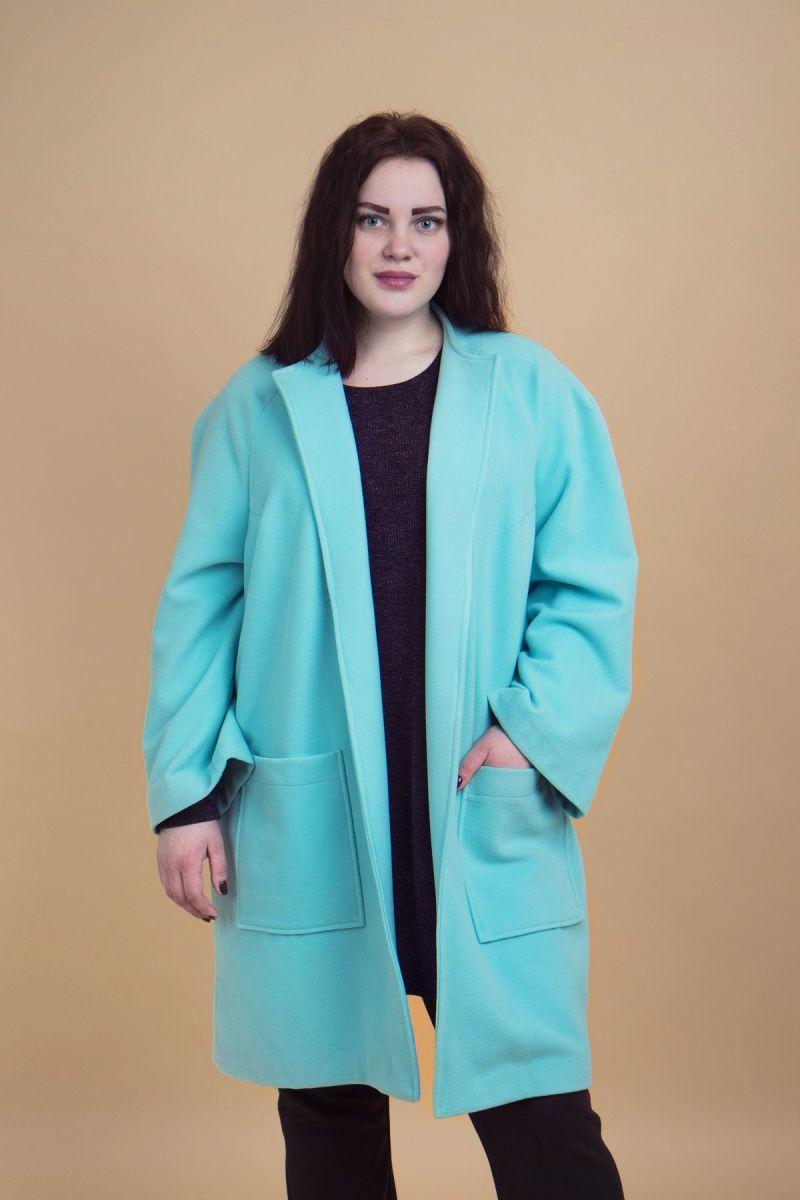 Пальто женское большого размера из благородного кашемира сочная мята доступно в цвете 000-440 - Victorya-Shop.com