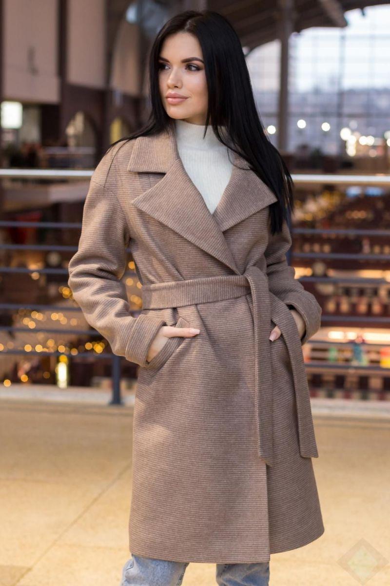 Пальто женское Весна-осень цвет ПАРКЕТКАКАКАО  000-480 - Victorya-Shop.com