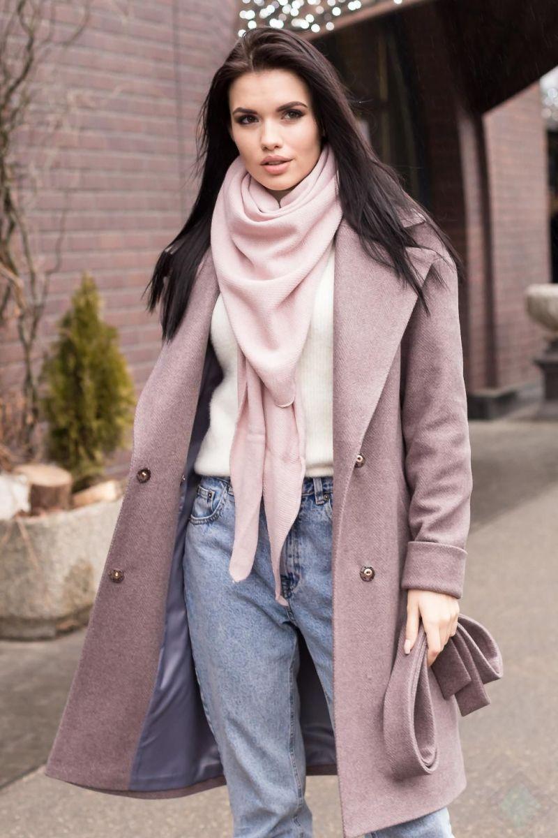 Пальто женское Весна-осень цвет ПАРКЕТКАПУДРА  000-479 - Victorya-Shop.com