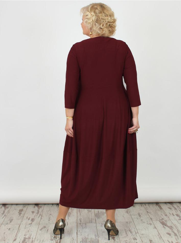 Платье большого размера бордо трикотаж 000-377 - Victorya-Shop.com