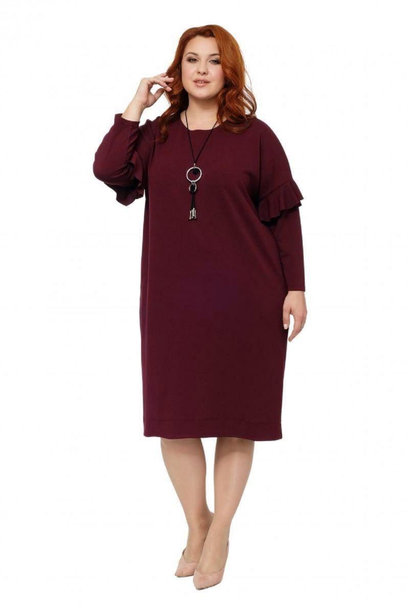 Платье большого размера цвет бордо  Доступно в цвете  000-236 - Victorya-Shop.com
