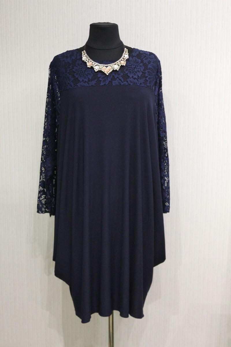 Платье большого размера цвет темно-синий модель доступна в цвете 00-13312 - Victorya-Shop.com