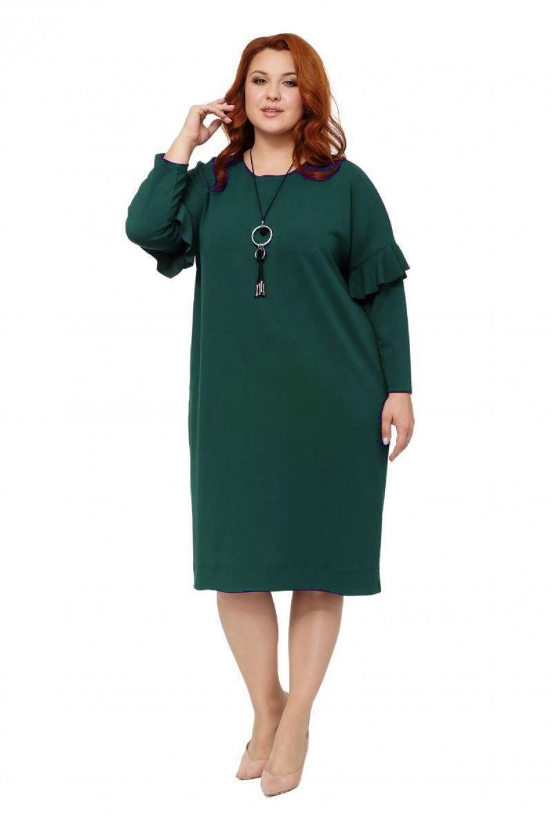 Платье большого размера цвет зеленый  Доступно в цвете  000-235 - Victorya-Shop.com