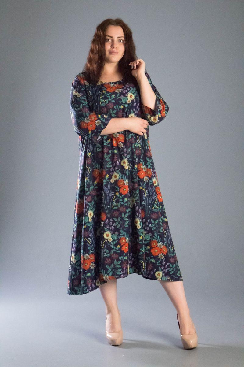 Платье большого размера из ткани софт лето цветочный принт 000-549 - Victorya-Shop.com