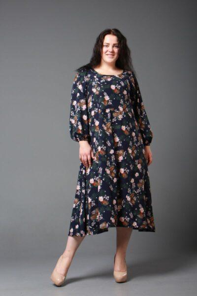 Платье большого размера из трикотажа 000-600 - Victorya-Shop.com