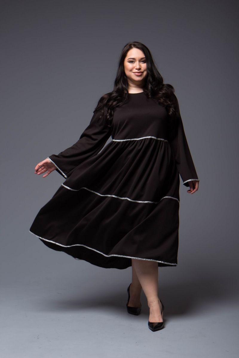 Платье большого размера из трикотажа джерси доступно в цвете  000-697 - Victorya-Shop.com