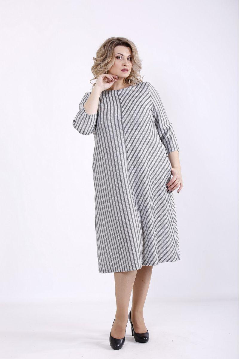 Платье большого размера полоса 000-372 - Victorya-Shop.com