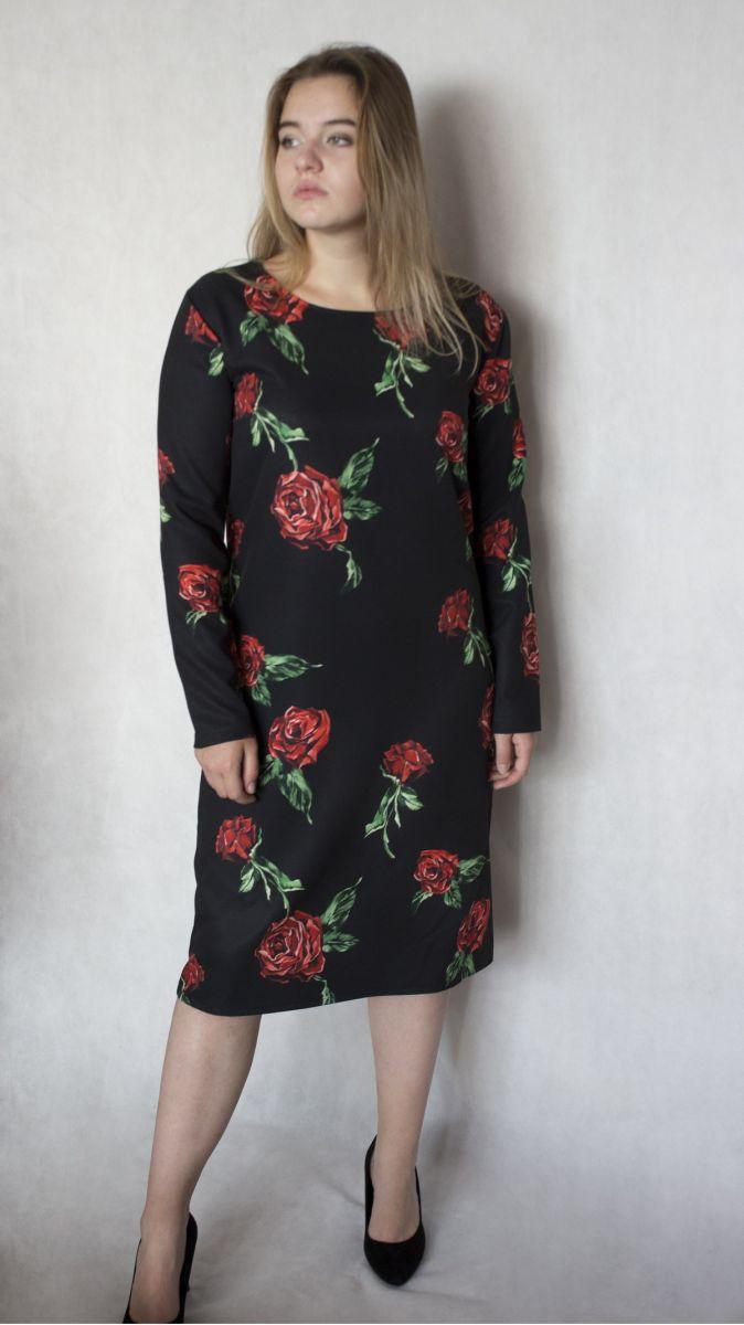 Платье большого размера  с принтом роз в стиле  Dolce & Gabbana  00-133682 - Victorya-Shop.com