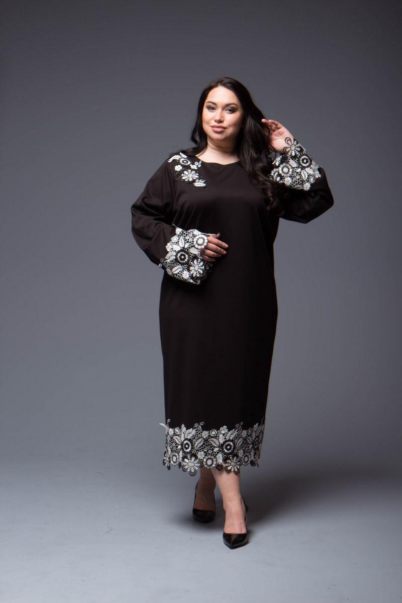 Платье большого размера с украшением вышивка цветы 000-699 - Victorya-Shop.com