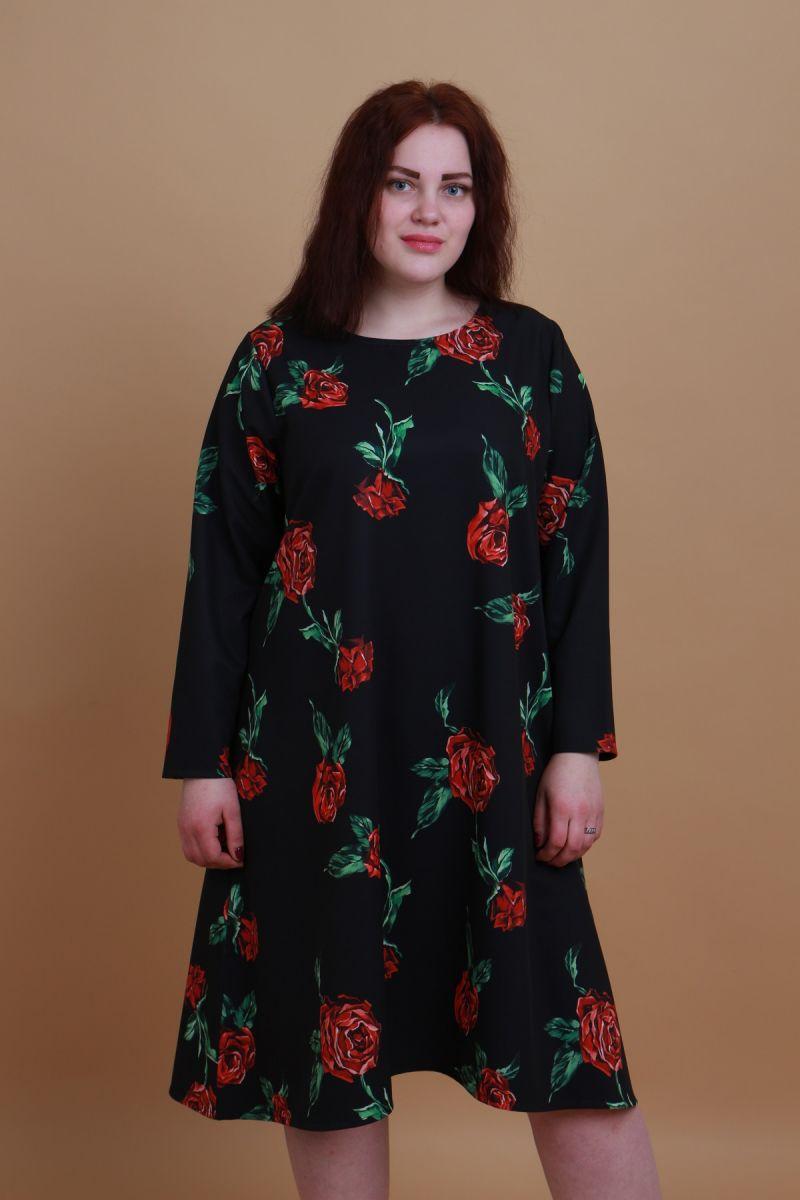 Платье большого размера трапеция 000-441 - Victorya-Shop.com