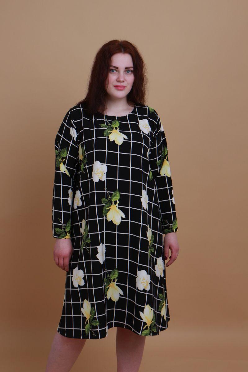 Платье большого размера трапеция 000-442 - Victorya-Shop.com
