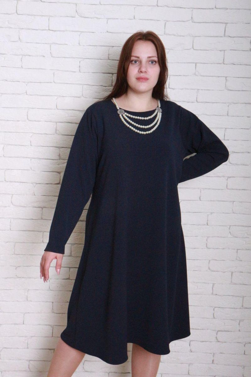 Платье большого размера трапеция синий 000-268 - Victorya-Shop.com