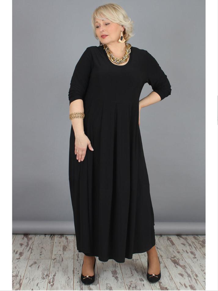 Платье большого размера черный трикотаж 000-378 - Victorya-Shop.com