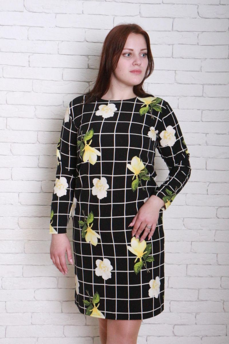 Платье большого размера в принт цветы Дани 00-133683 - Victorya-Shop.com