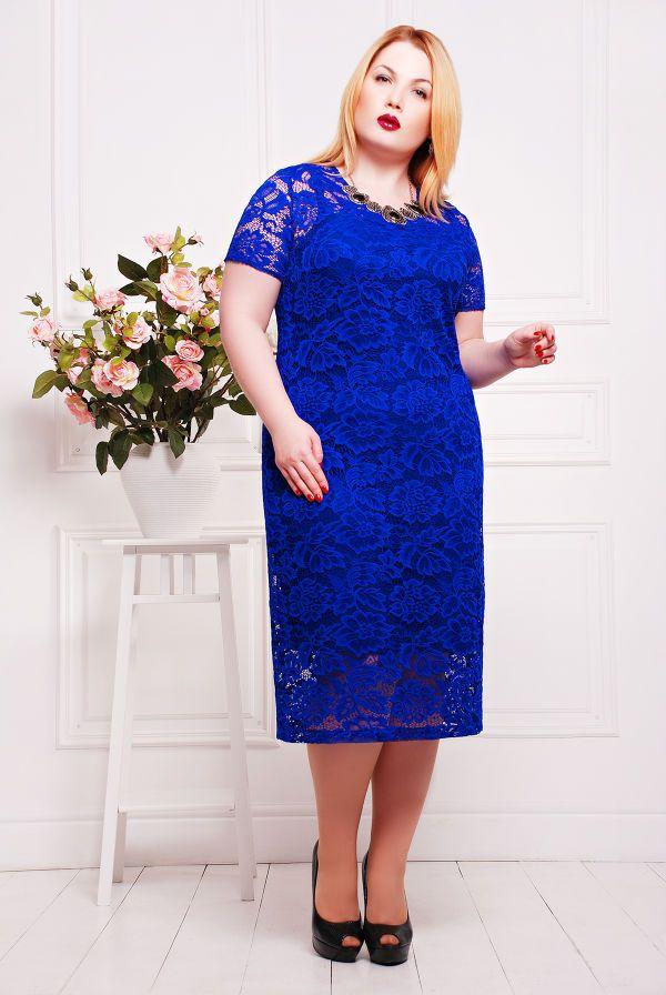 Платье из гипюра с подкладкой цвет электрик ЛЮЧИЯ - Victorya-Shop.com