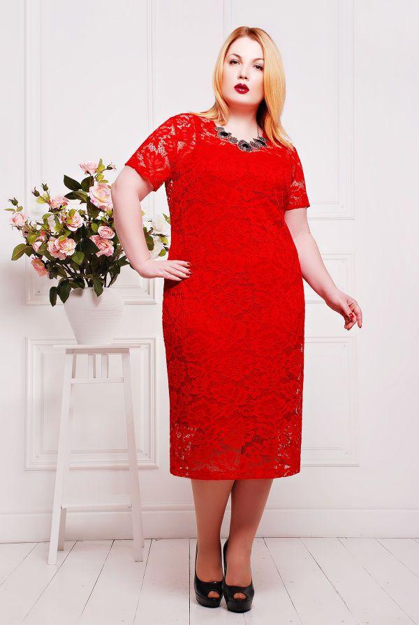 Платье из гипюра с подкладкой цвет красный ЛЮЧИЯ - Victorya-Shop.com