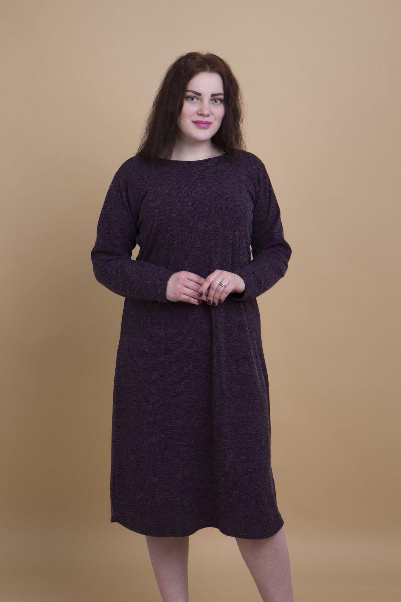 Платье из мягкого трикотажа с поясом марсала 000-384 - Victorya-Shop.com