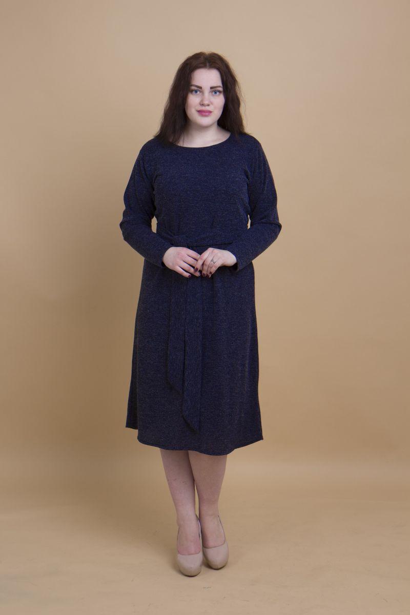Платье из мягкого трикотажа с поясом синий 000-385 - Victorya-Shop.com