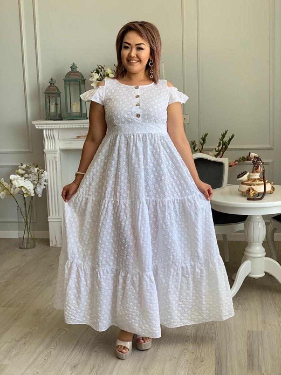Платье из натуральной ткани прошва большого размера(батист) 000-400 - Victorya-Shop.com