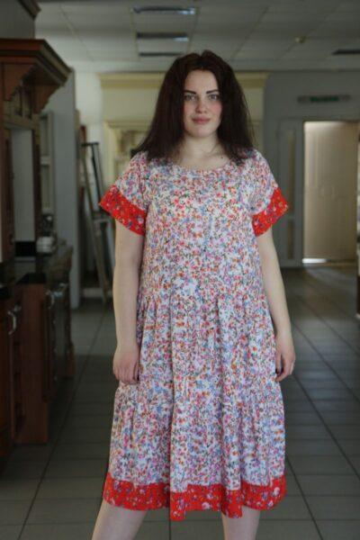 Платье летнее большого размера из крепдешина Танюша  000-499 - Victorya-Shop.com