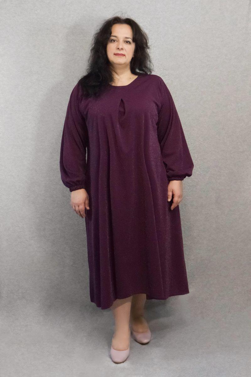 Платье расклешенное к низу с люриксовой ниткой марсала 000-620 - Victorya-Shop.com