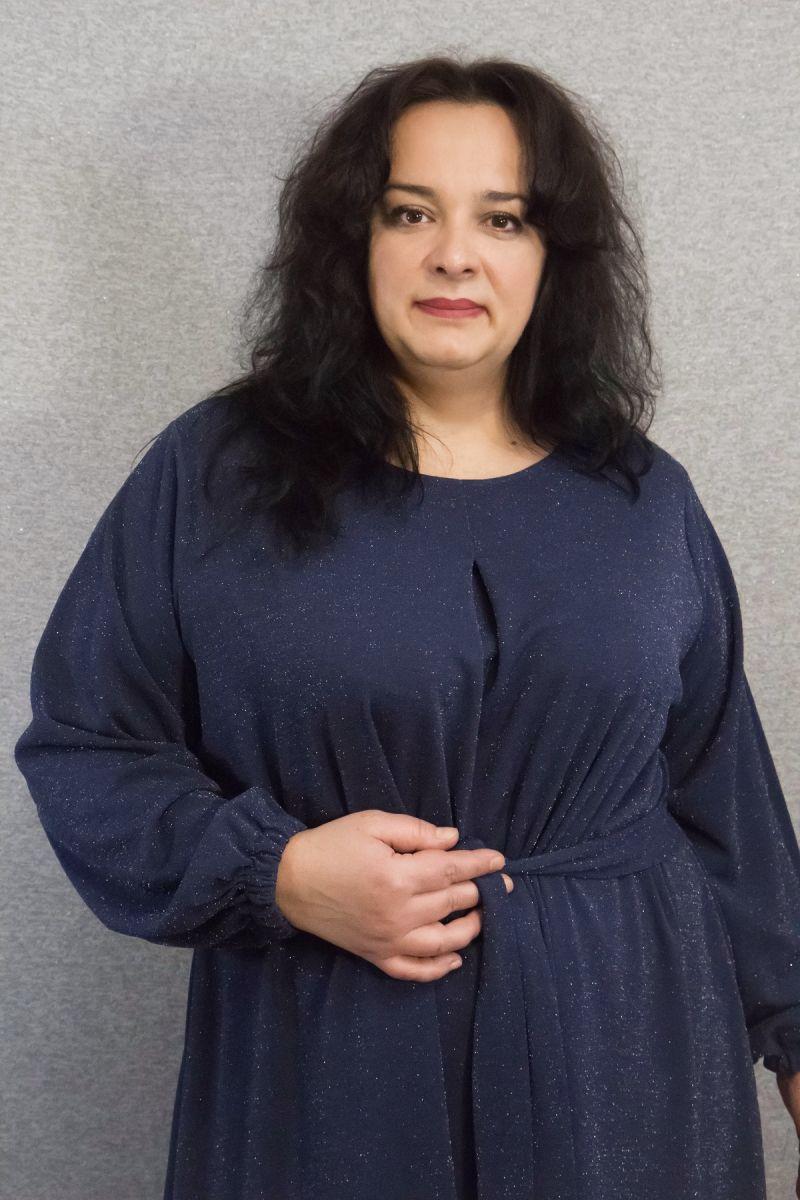 Платье расклешенное к низу с люриксовой ниткой синий 000-619 - Victorya-Shop.com
