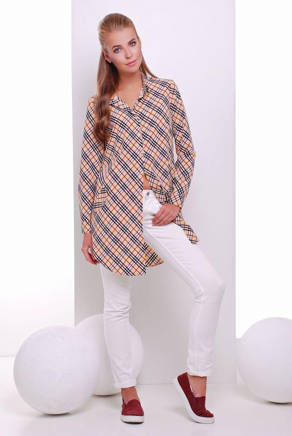Платье -рубашка бежевая в клетку TAYLOR - Victorya-Shop.com