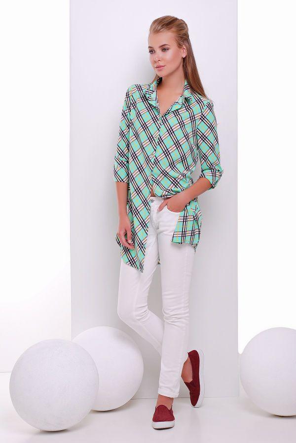 Платье -рубашка мятная в клетку TAYLOR - Victorya-Shop.com