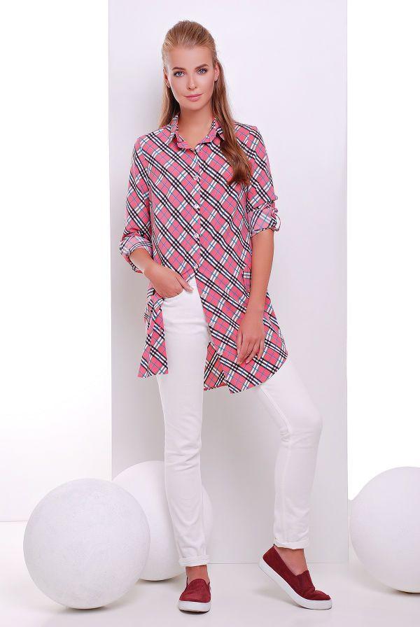 Платье -рубашка розовая в клетку TAYLOR - Victorya-Shop.com