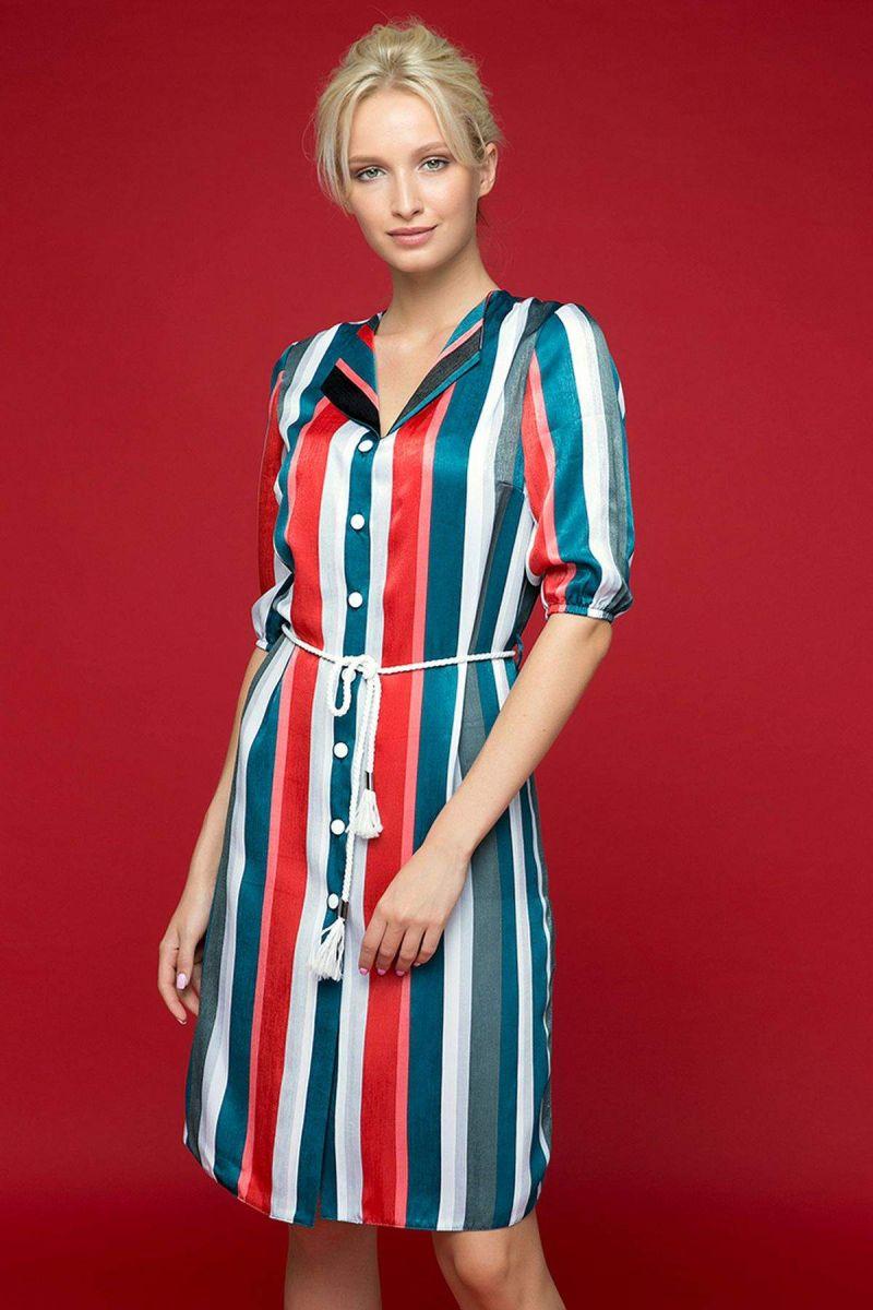 """Платье-рубашка с воротником """"апаш"""" SET синее 00-13397 - Victorya-Shop.com"""