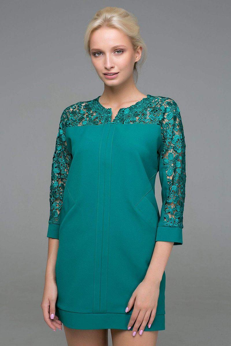Платье с карманами BELL зеленое 00-13375 - Victorya-Shop.com