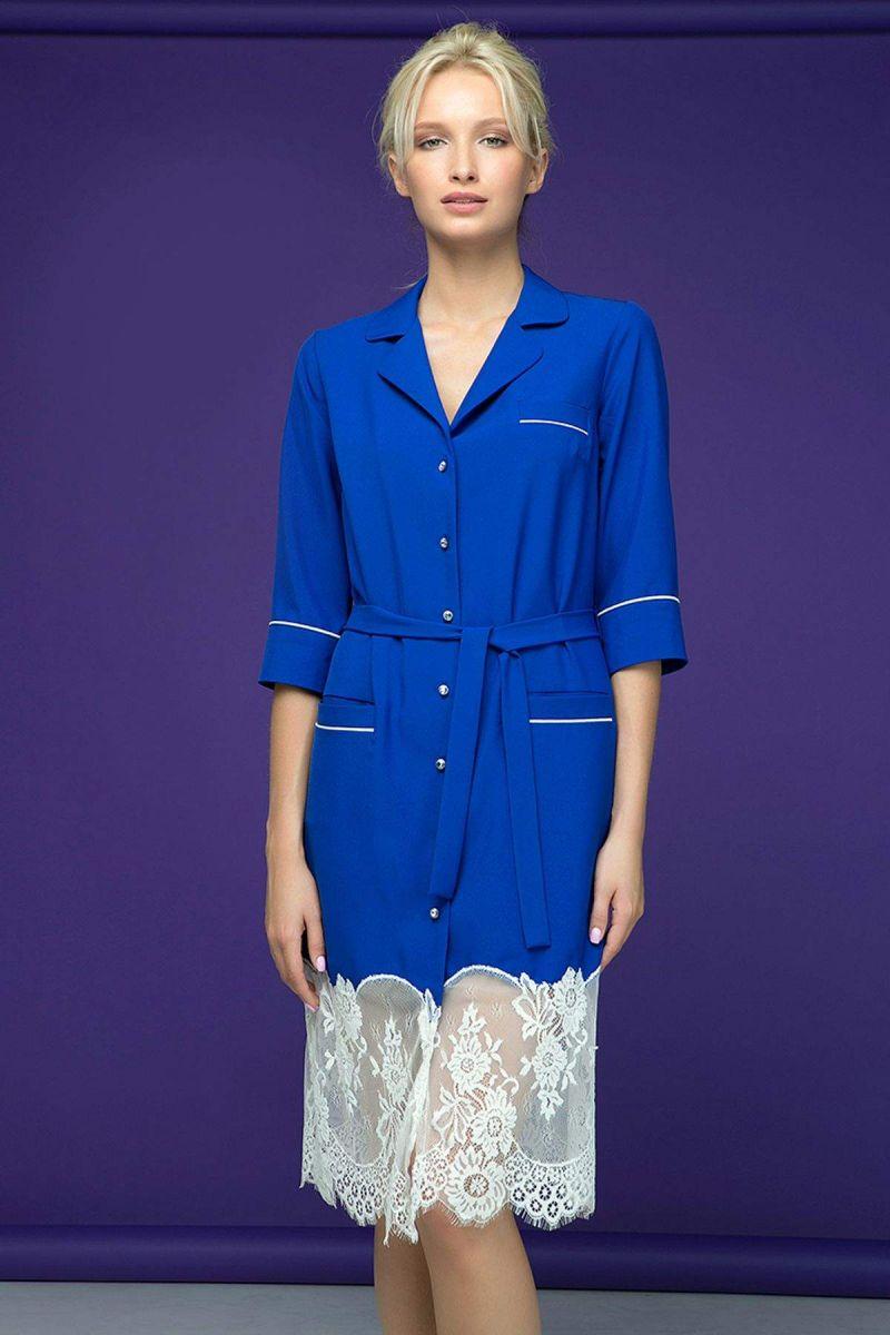 Платье с кружевным купоном KIRA синее 00-13395 - Victorya-Shop.com