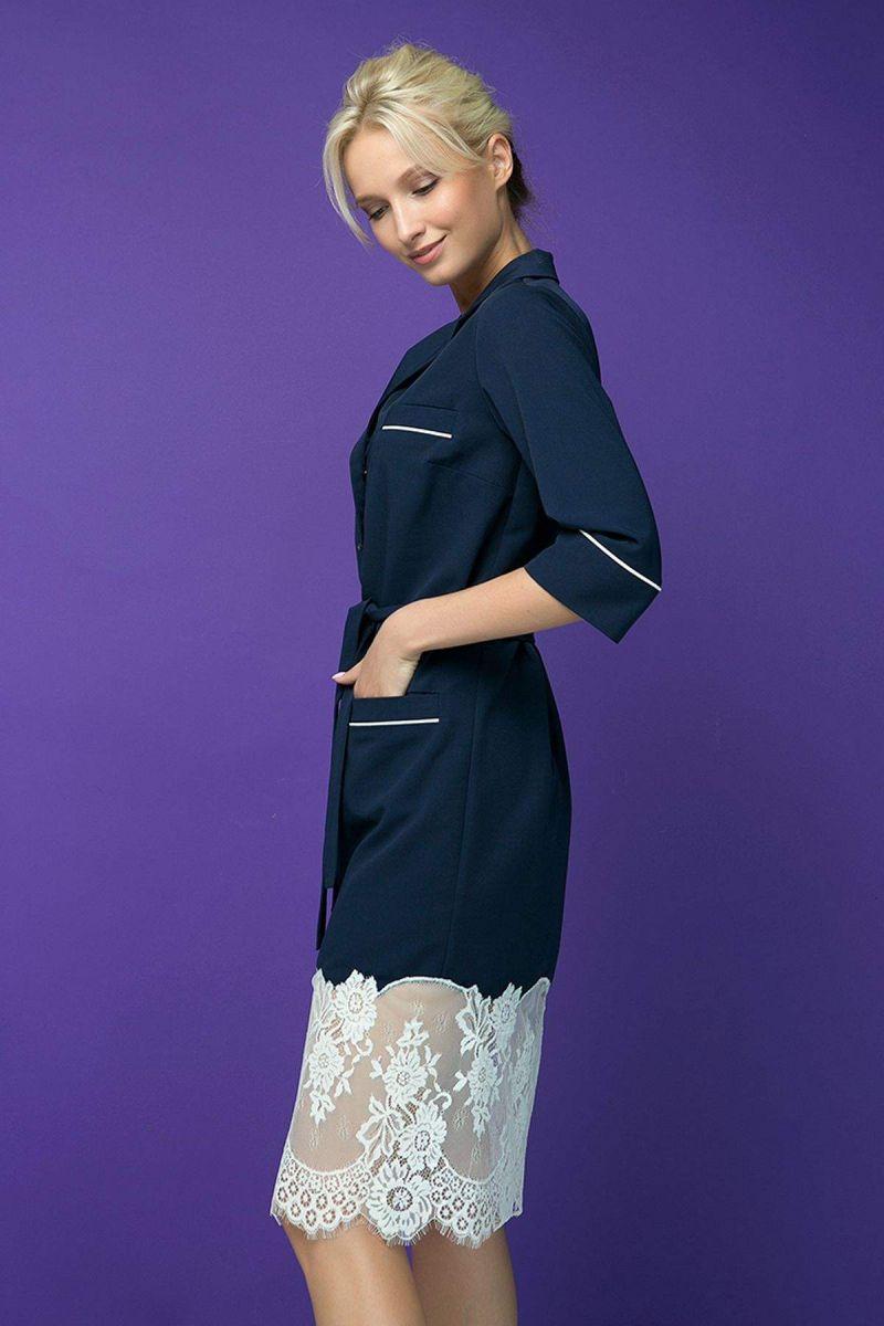 Платье с кружевным купоном KIRA темно-синее 00-13394 - Victorya-Shop.com