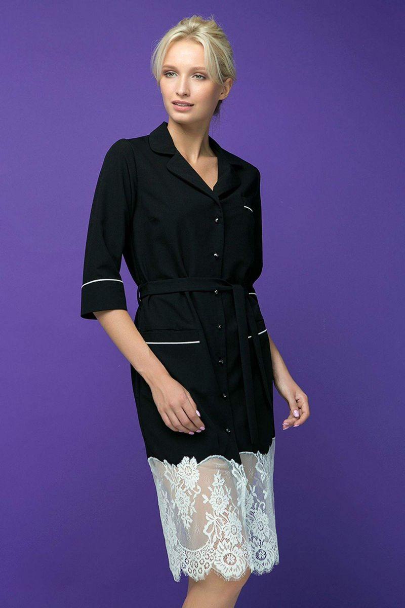 Платье с кружевным купоном KIRA черное 00-13396 - Victorya-Shop.com