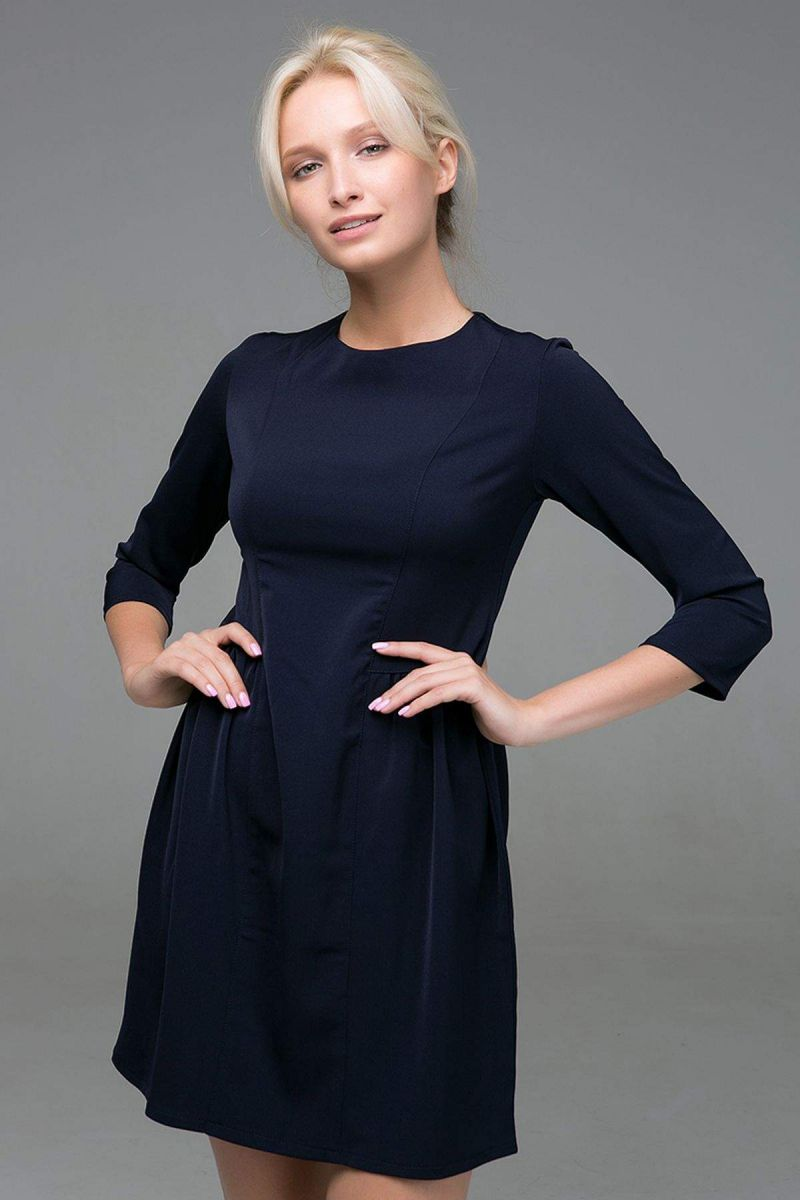 Платье с пышной юбкой LOFT темно-синее 00-13376 - Victorya-Shop.com