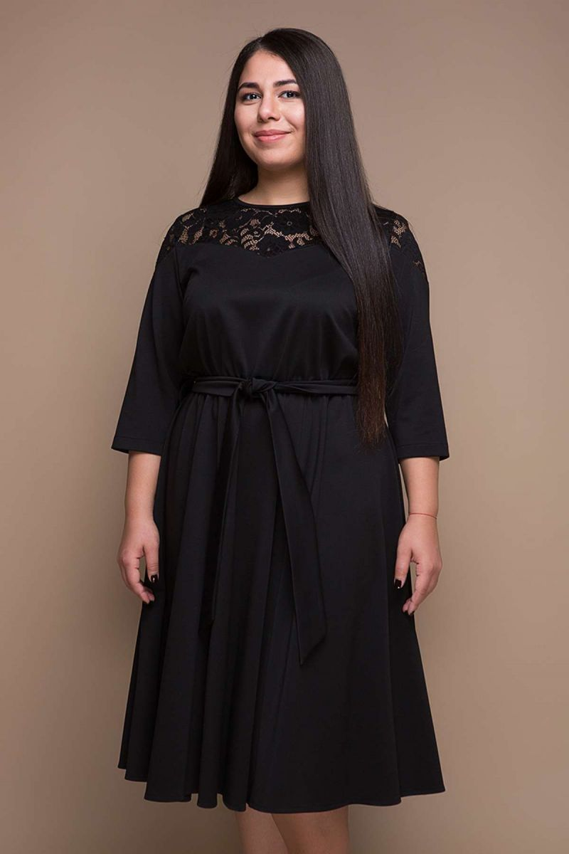 Платье с расклешенной юбкой черный  00-391 - Victorya-Shop.com