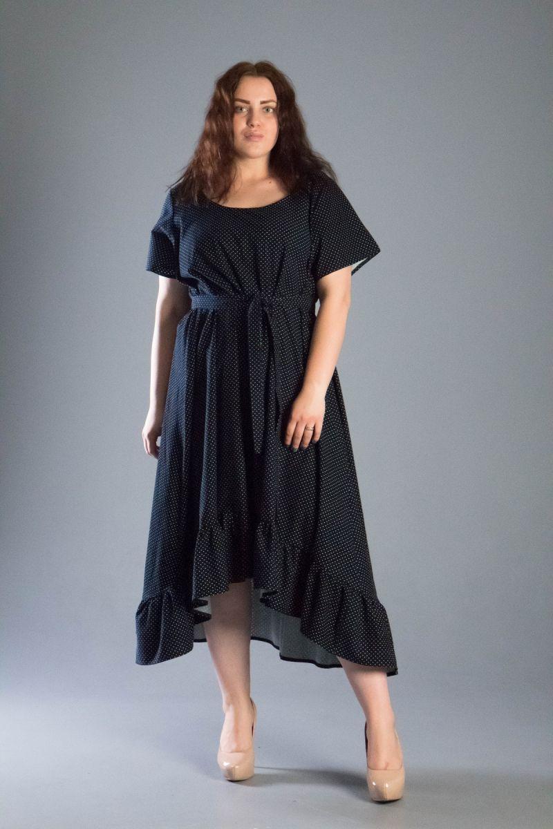 Платье с воланом большого размера в горох из натуральной ткани темно-синий 000-550 - Victorya-Shop.com