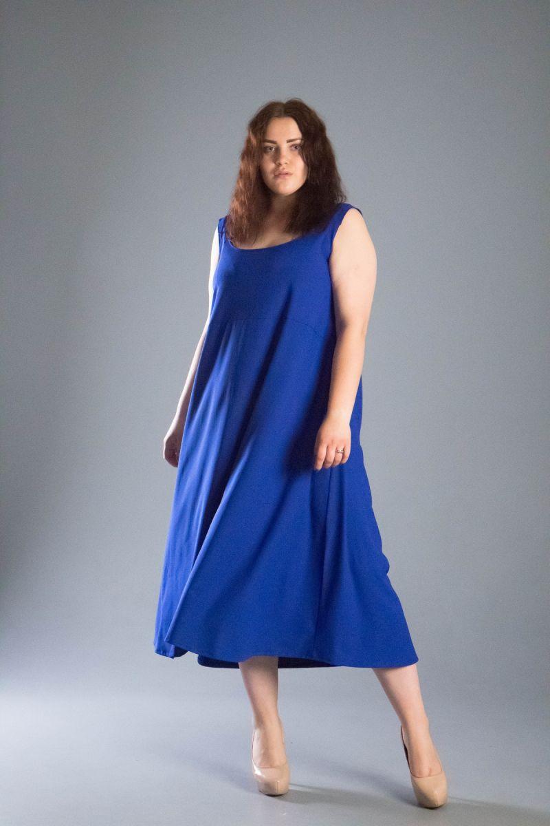 Платье -сарафан большого размера из легкой ткани креп Клер 00-133649 - Victorya-Shop.com