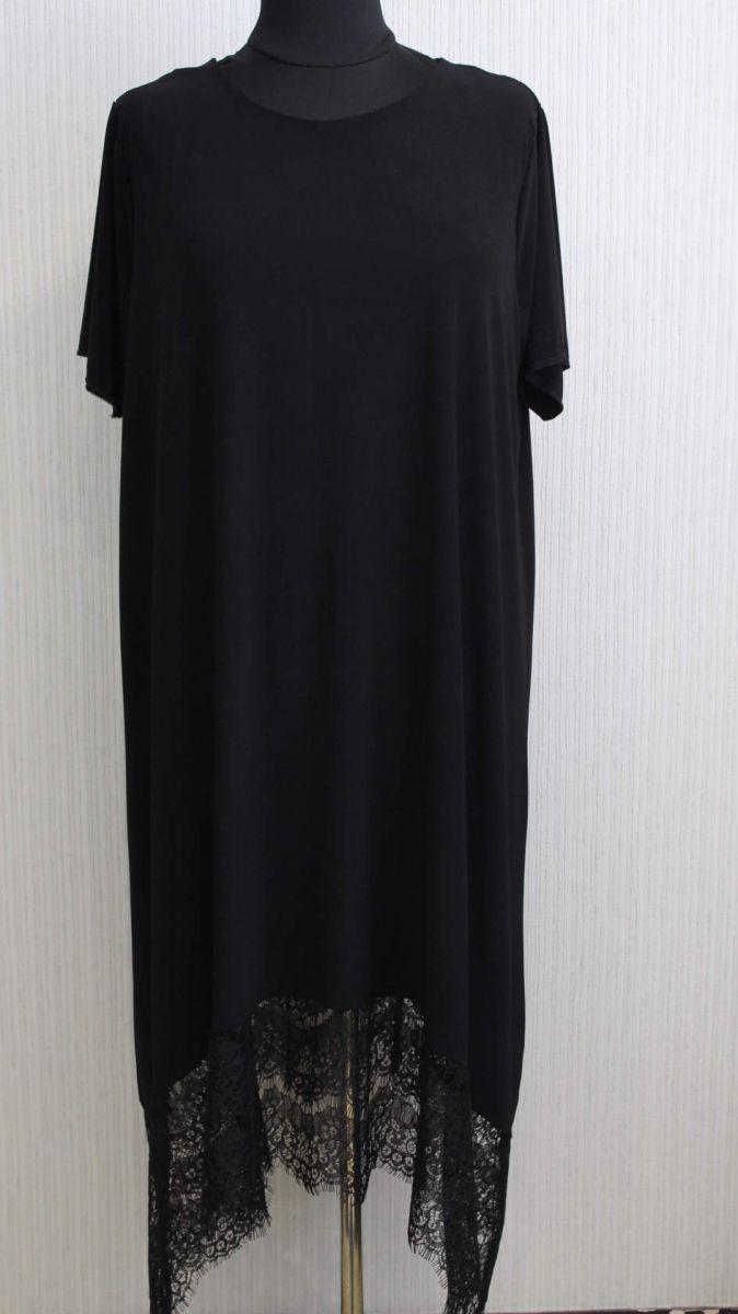 Платье Софи короткий рукав черный 00-1005 - Victorya-Shop.com