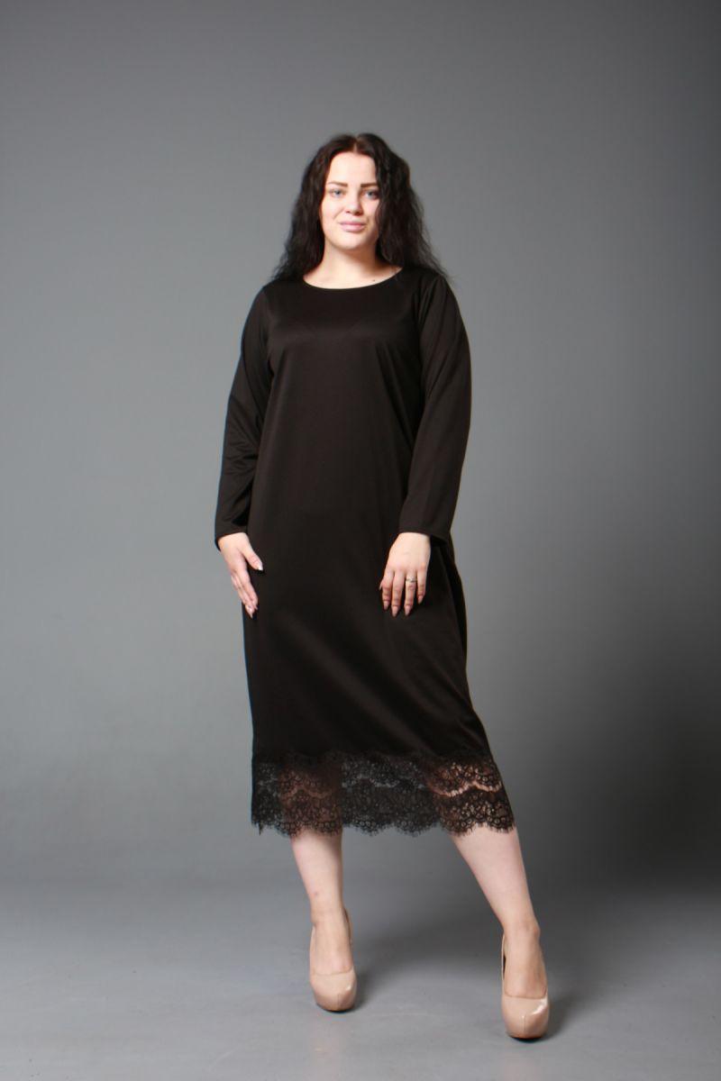 Платье черное большого размера с кружевом 000-602 - Victorya-Shop.com