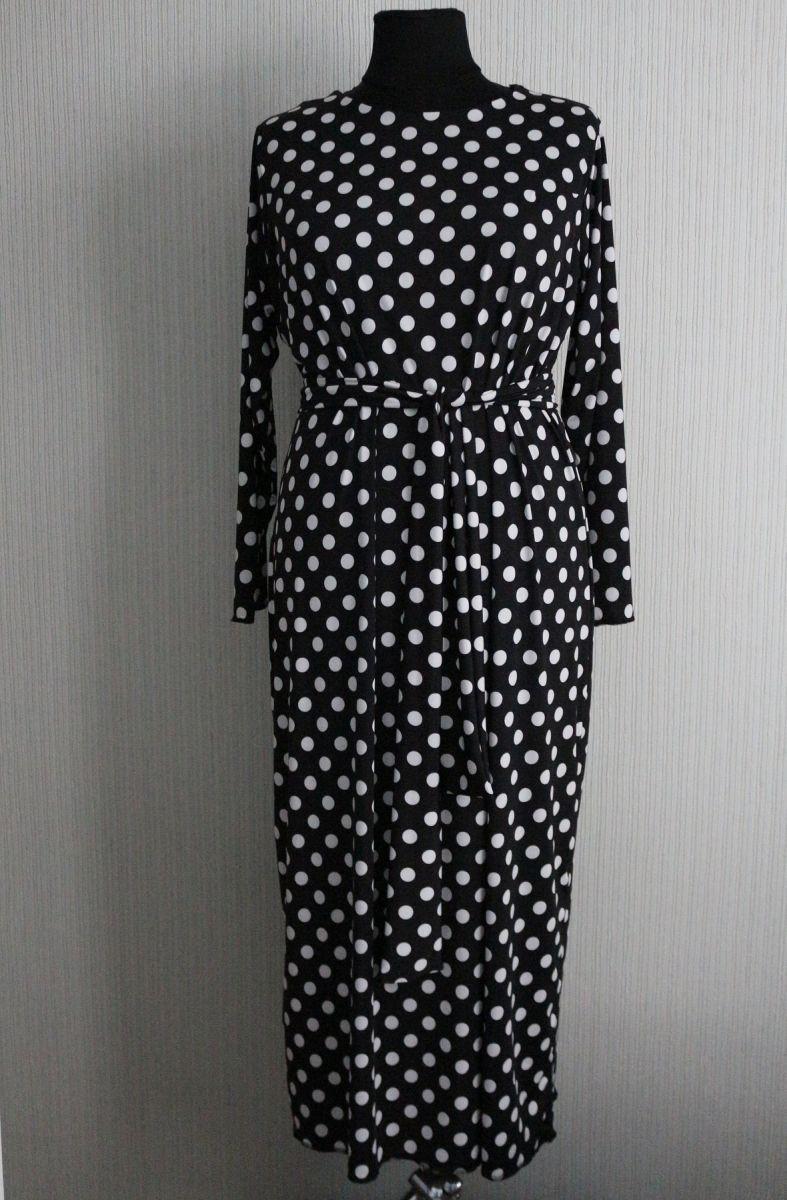 Платье в горох большого размера Кора 00-13321     под заказ 3-5 рабочих дней - Victorya-Shop.com