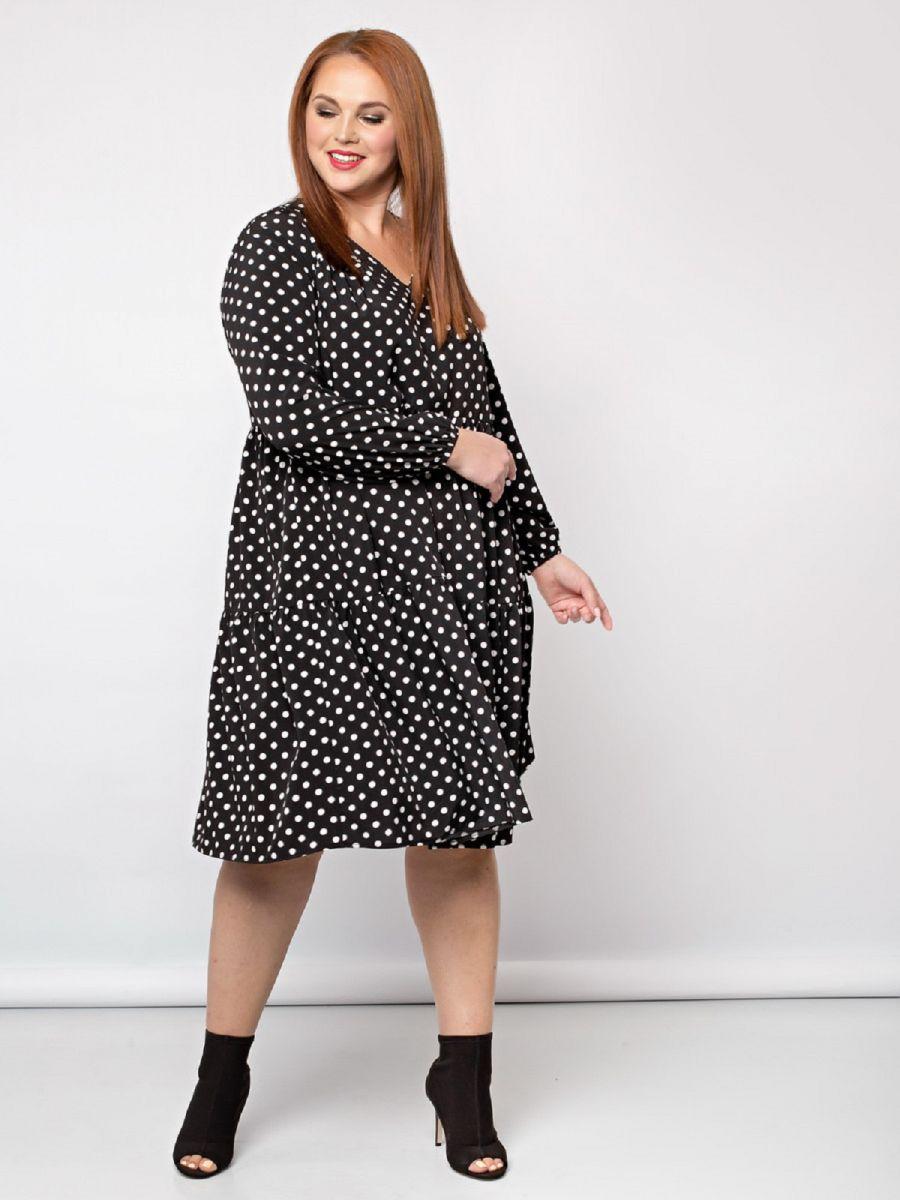 Платье в горох большого размера шелковый софт ЗАМЕНА ПРИНТА!! 000-402 - Victorya-Shop.com